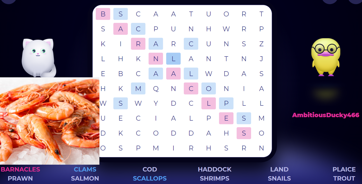National Shrimp Day. Sea food words are hidden in this word search game. Try and find them all.