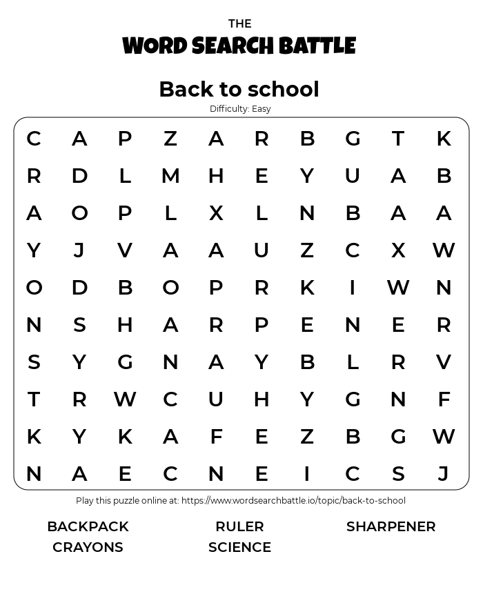 Printable Easy Back to School Word Search