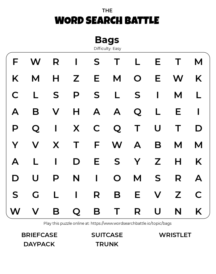 Printable Easy Bags Word Search