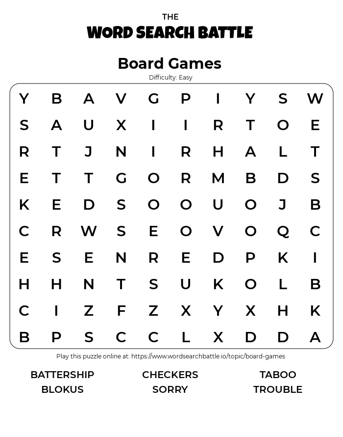 Printable Board Games Word Search