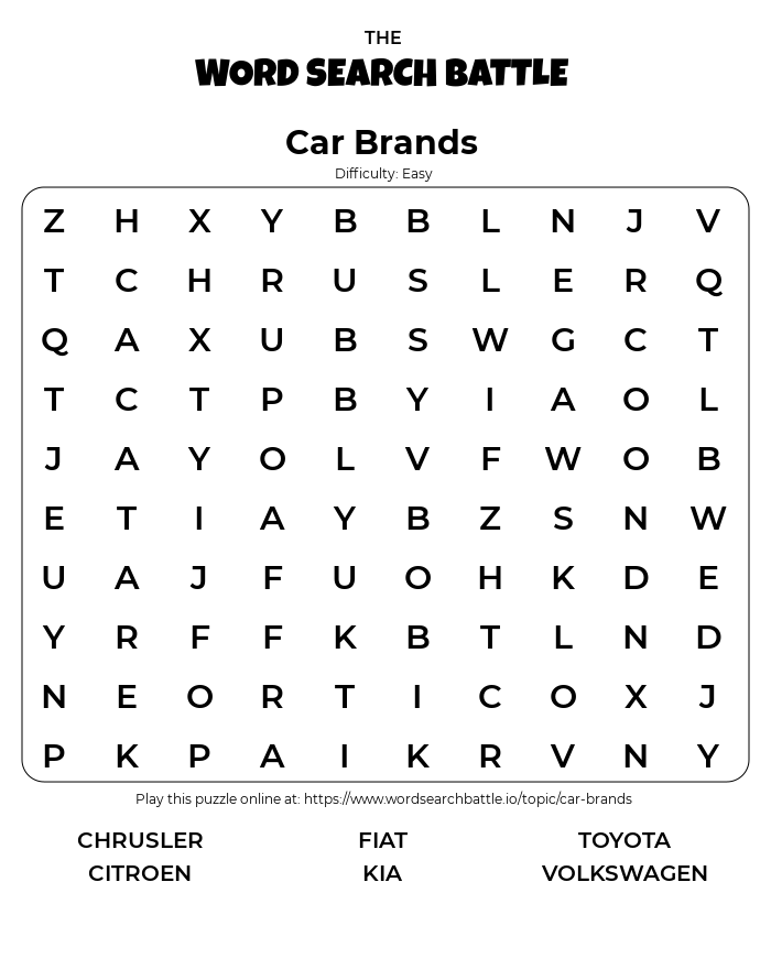 Printable Easy Car Brands Word Search