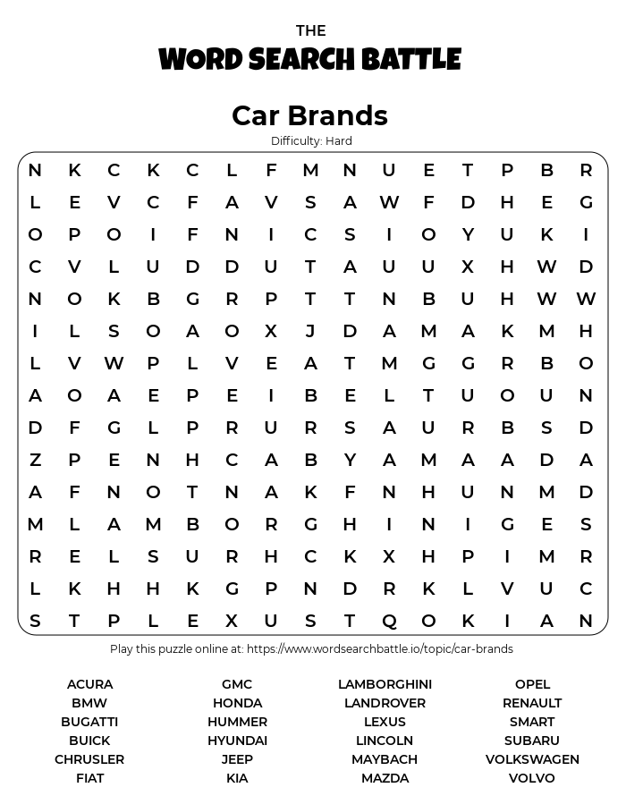 Printable Hard Car Brands Word Search