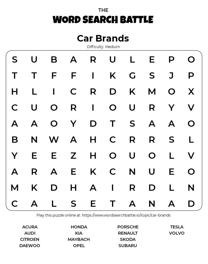 Printable Car Brands Word Search