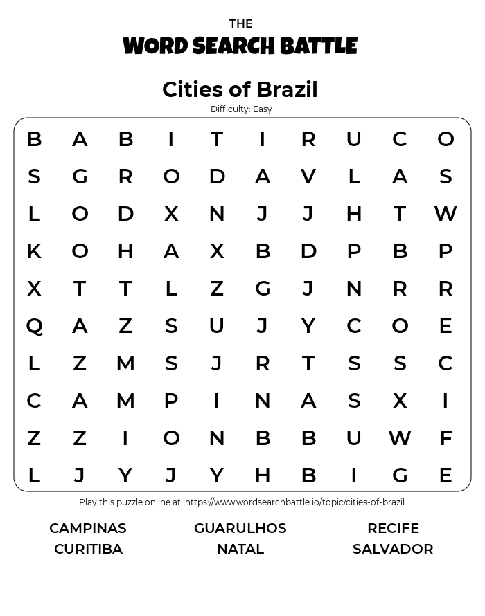Printable Easy Cities of Brazil Word Search