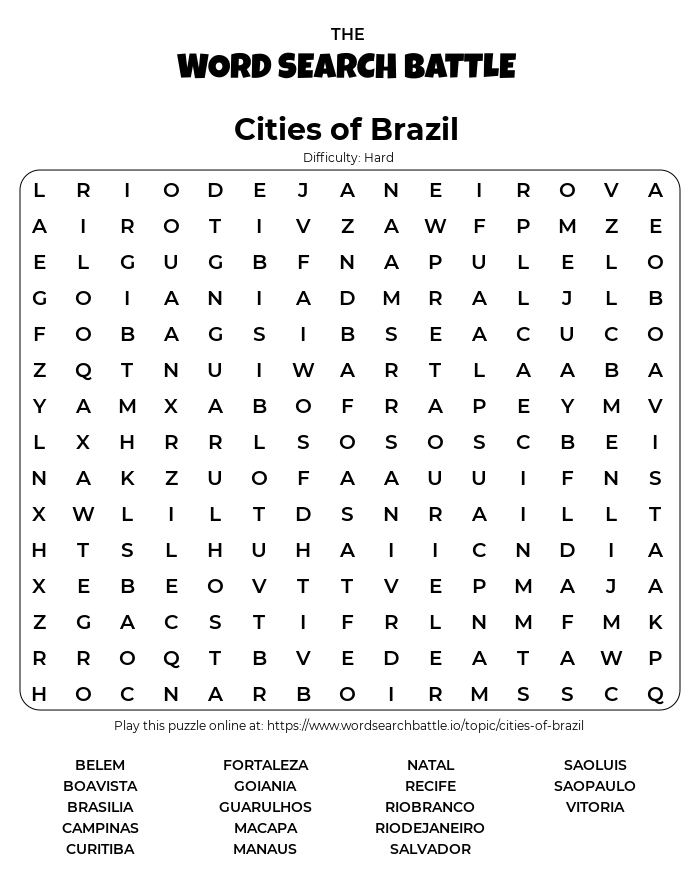 Printable Hard Cities of Brazil Word Search
