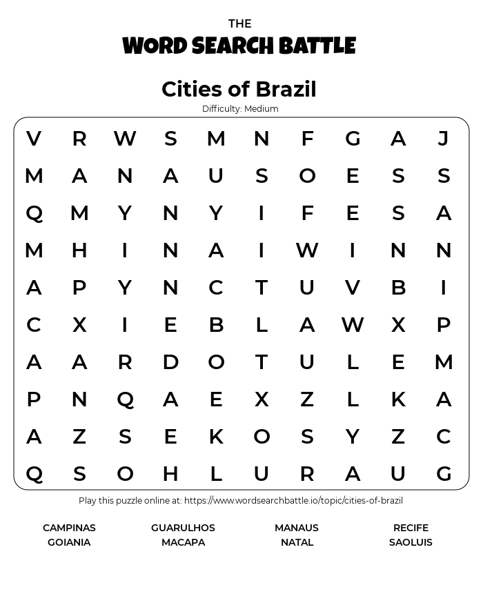 Printable Cities of Brazil Word Search