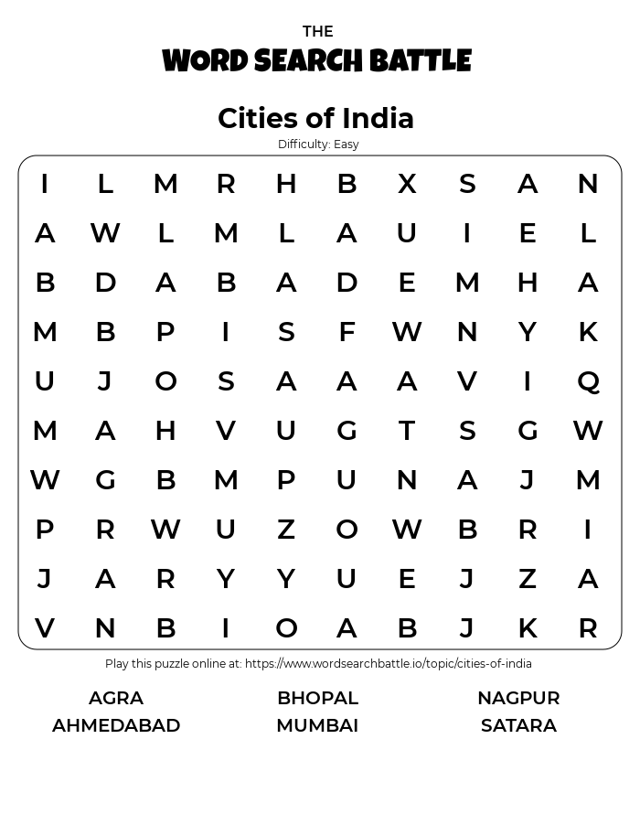 Printable Easy Cities of India Word Search