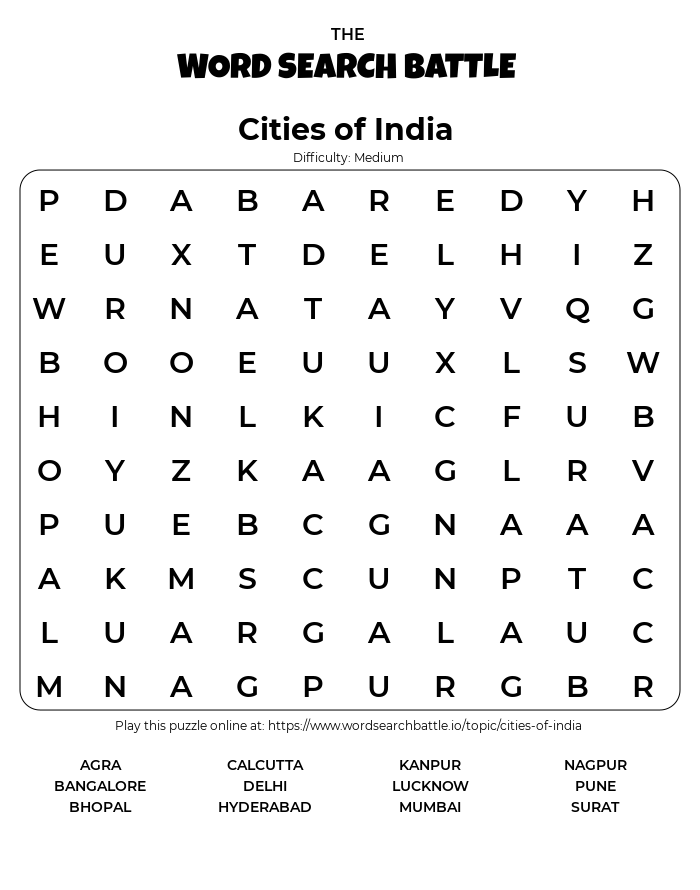 Printable Cities of India Word Search