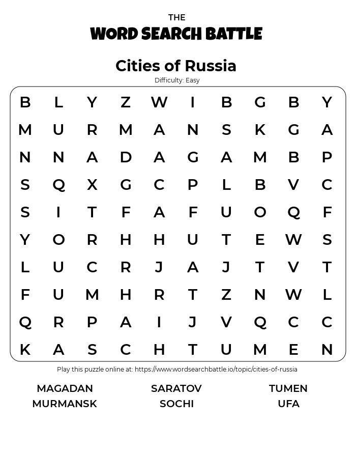 Printable Easy Cities of Russia Word Search