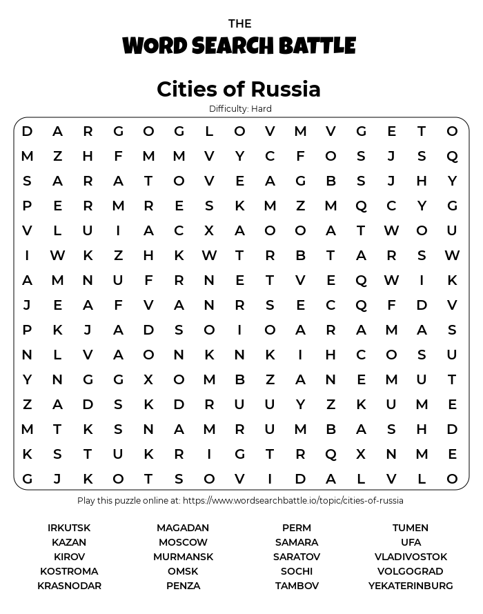 Printable Hard Cities of Russia Word Search
