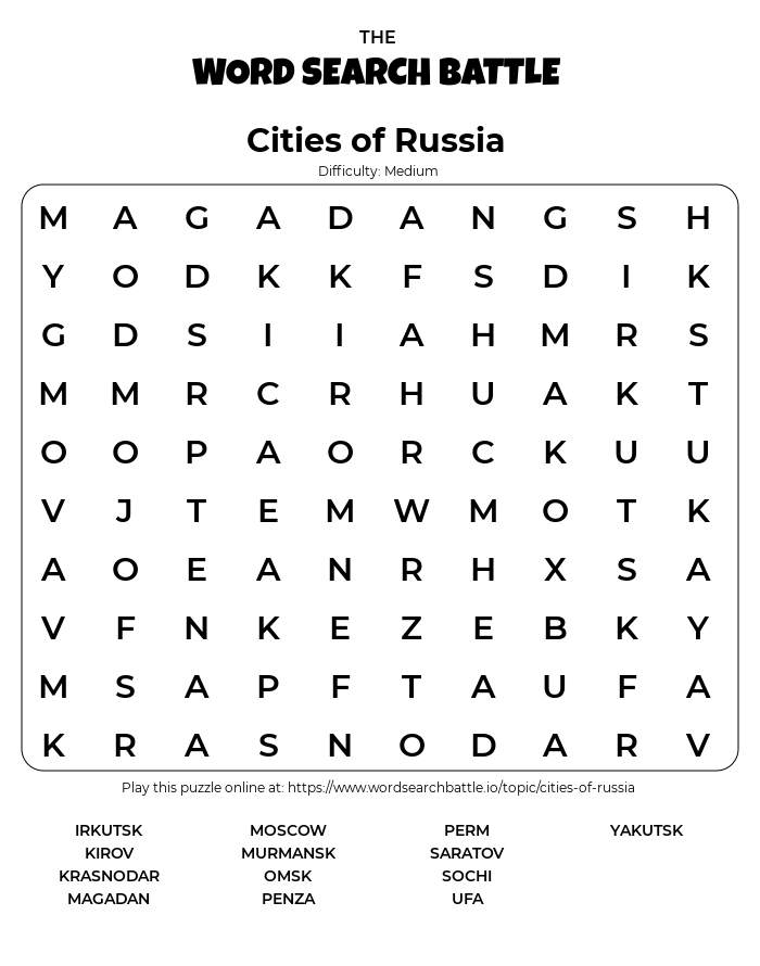 Printable Cities of Russia Word Search