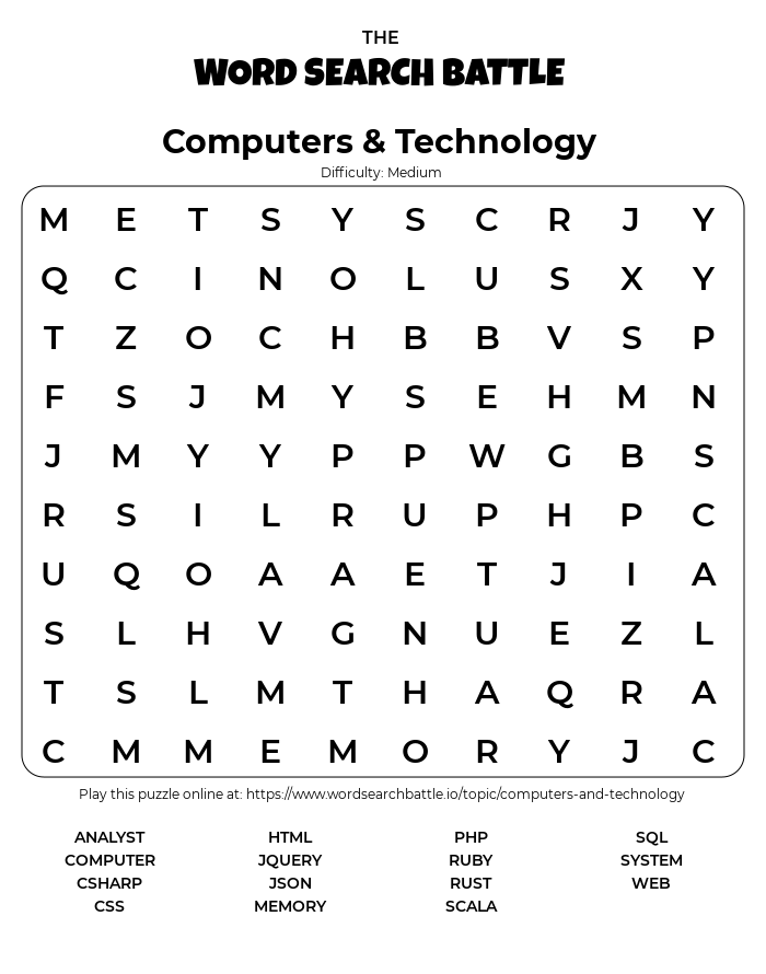 Printable Computers & Technology Word Search