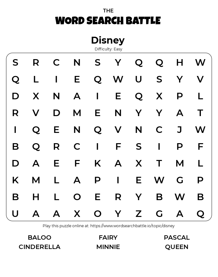 Printable Easy Disney Word Search