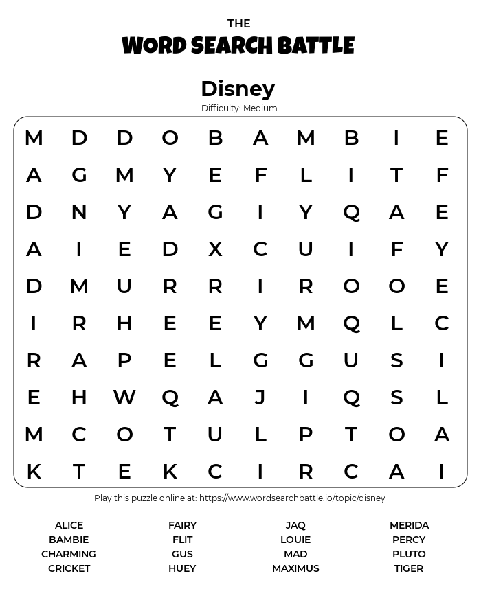 Printable Disney Word Search