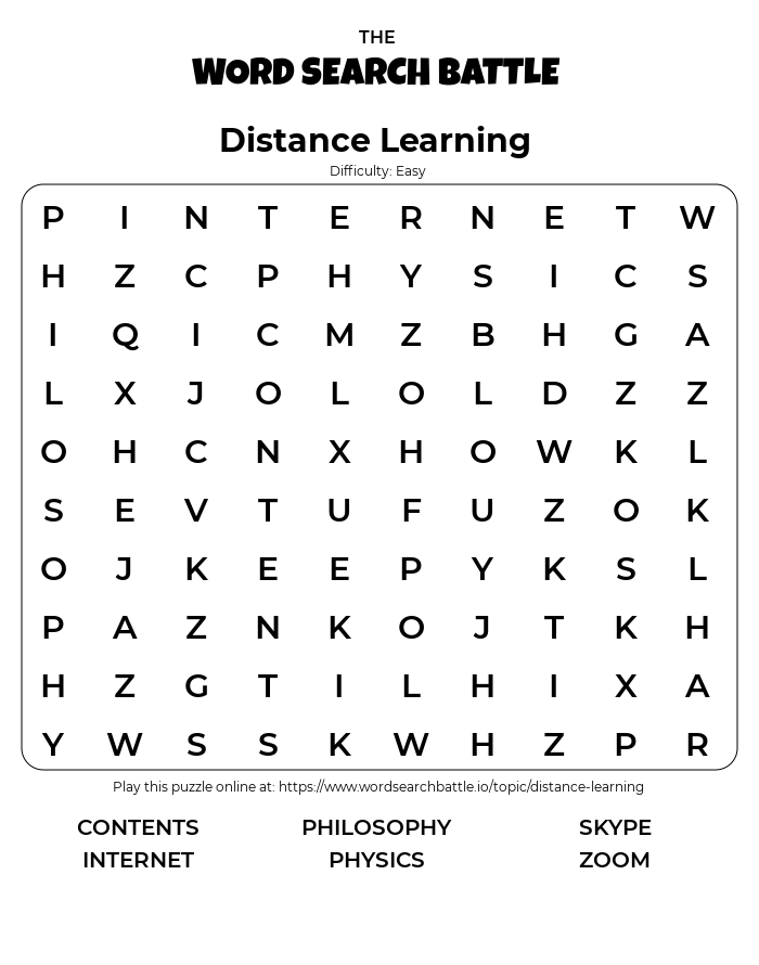 Printable Easy Distance Learning Word Search