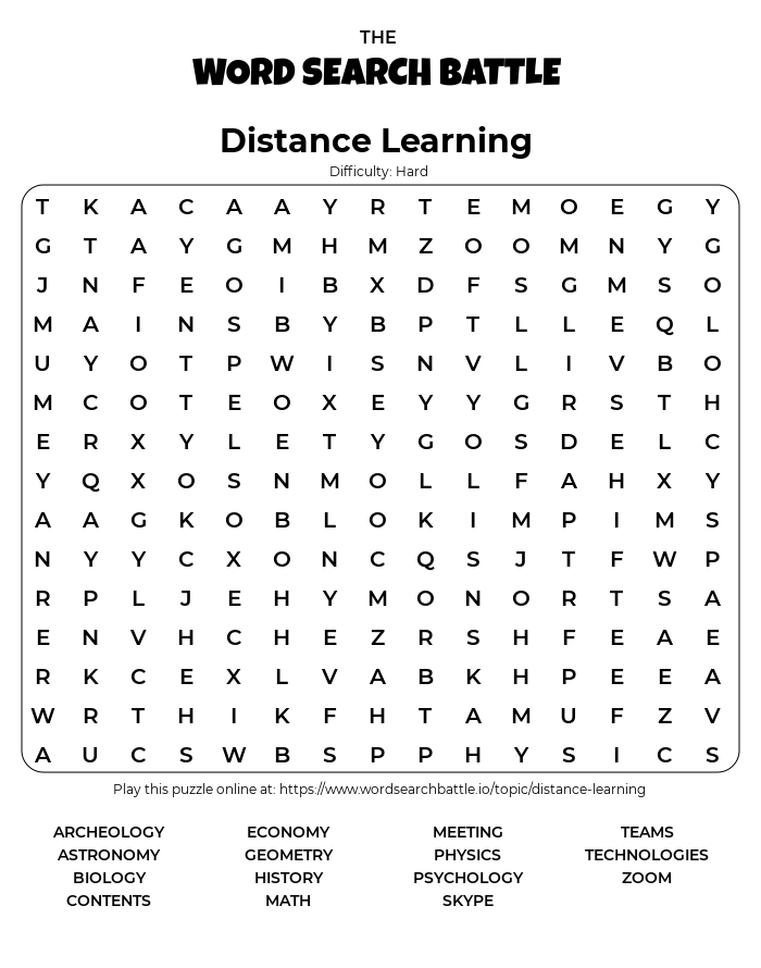 Printable Hard Distance Learning Word Search