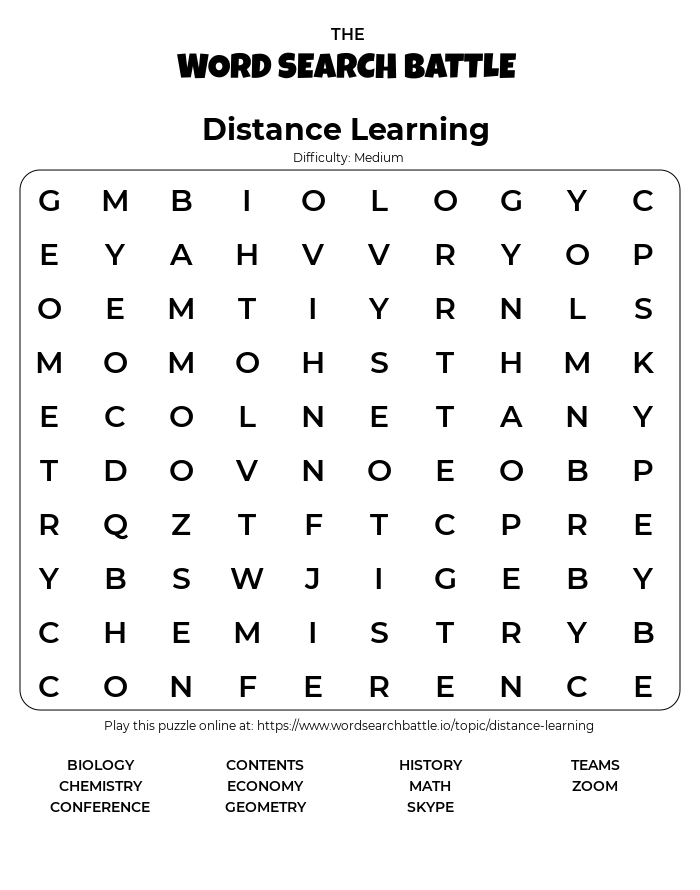 Printable Distance Learning Word Search