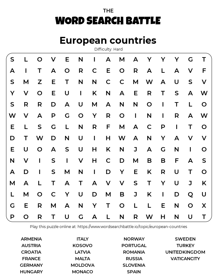 Printable Hard European countries Word Search