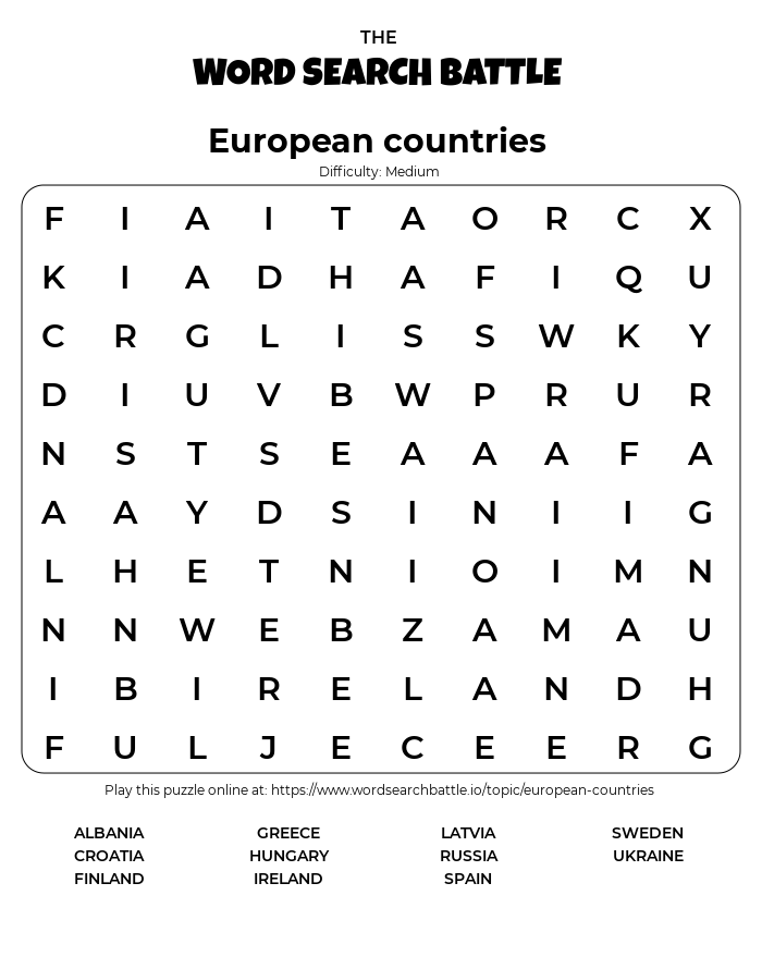 Printable European countries Word Search