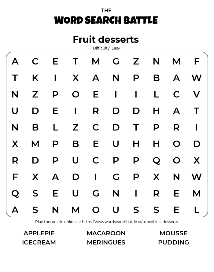 Printable Fruit desserts Word Search