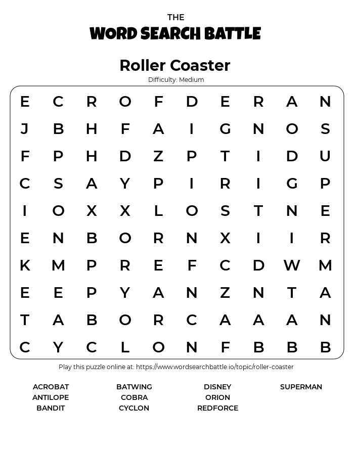 Printable Roller Coaster Word Search
