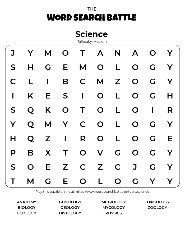 Printable Science Word Search