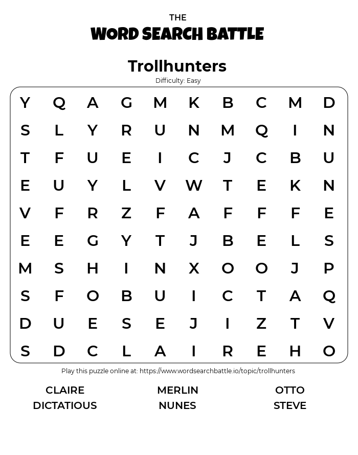 Printable Easy Trollhunters Word Search