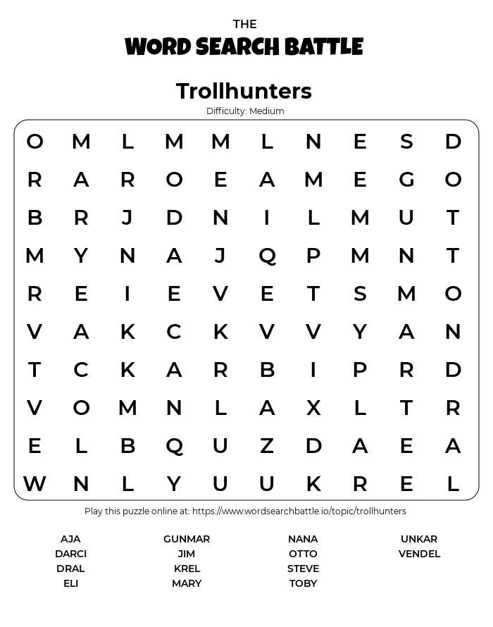 Printable Trollhunters Word Search